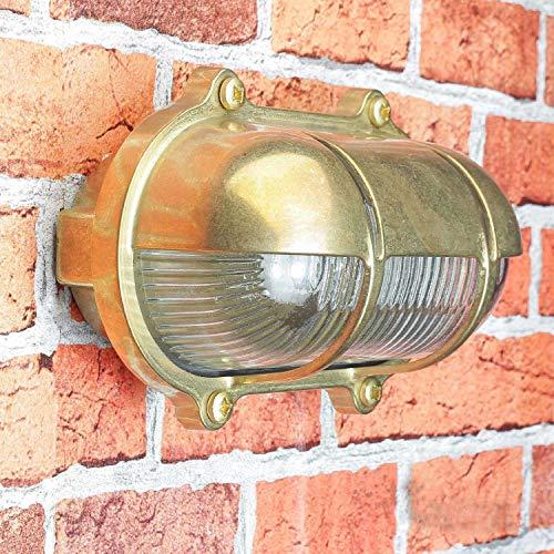 *Außenwandlampe Messing Maritim Glasschirm Käfig IP64 Schiffslampe Außenleuchte Robust Hauswand Balkon*