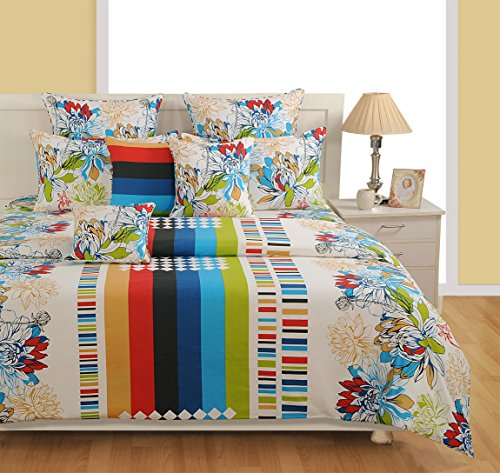 Swayam Shades of India 180 TC 4 Piece Cotton Double Bed in a Bag - Floral, White
