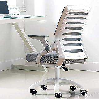 Kontorsstol Ergonomisk skrivbordsstol, Mid Back Mesh Office Chair med Flip Up Arms and Lubor Support, Executive Swivel Cha...