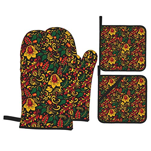 Khokhloma Russian Ethnic Ornament Oven Mitts and Pot Holders Set Heat Resistant Oven Gloves for Kitchen Microwave