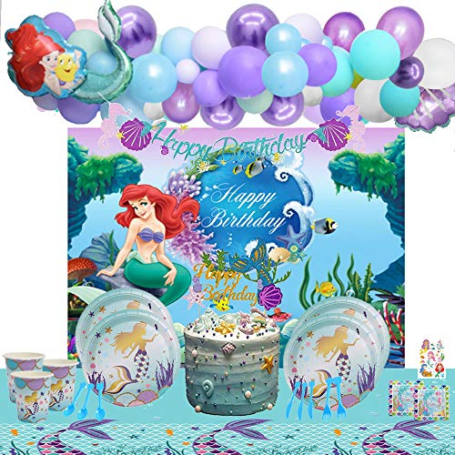 Mermaid Party Decorations Kit - Summer Pool Party Supplies for Girls...