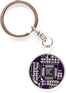 Recycled circuit board keychain, round, purple
