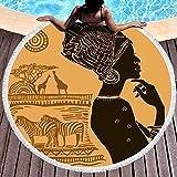 Xuanlin Toalla de Manta de Playa Redonda, Toallas de Playa para Mujer, Toalla de...