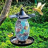 Solar Bird Feeder for Outside Hanging Outdoor,Mosaic Decor,Solar Powered Garden Lantern Lights Bird-House Wild Hanging Bird Feeder Waterproof Unique Retro Bird Feeder for Outdoors
