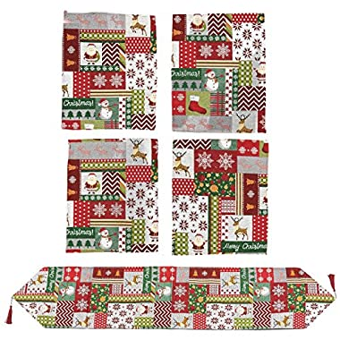 Juvale 5-Piece Christmas Table Set - Christmas Runner and 4 Dining Table Placemats - Christmas Kitchen Table Mats and Table Runner - Essential Xmas Holiday Dining Décor, Christmas Patchwork Theme
