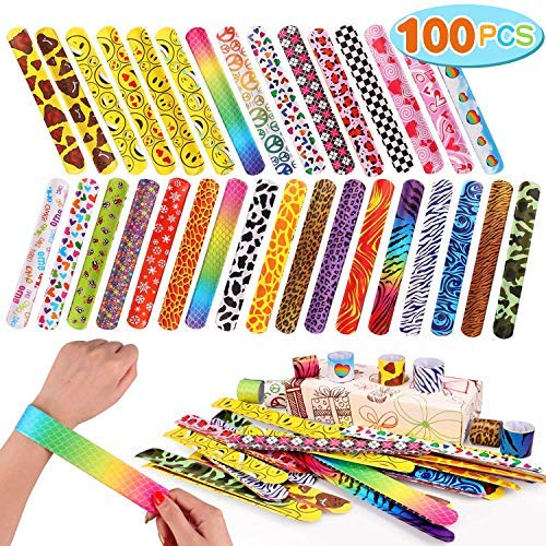 100 PCS Slap Bracelets Party Favors with Colorful Hearts Emoji Animal Print Design Retro Slap Bands for Kids Adults Birthday Classroom Gifts (100PCS)
