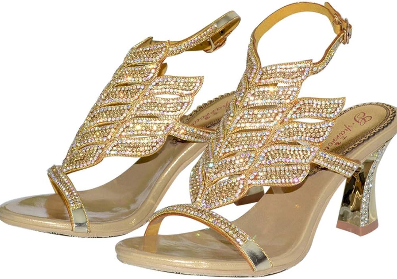 Sparrow Crystal Handmade Woman shoes Sandals Chunky Heel Wedding Party Dancing Heels Honeymoon Holiday Sandals