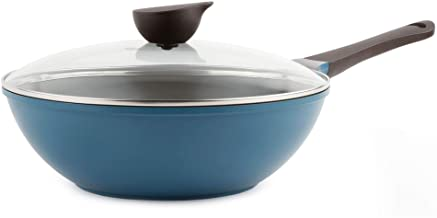 Neoflam Eela 12'' Non Stick Chef's Wok with Glass Lid, Stir Fry Pan and POFA-Free Ceramic Coating for Cooking Saute Vegeta...