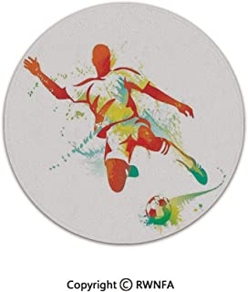 3D Printed Modern No-Shedding Non-Slip Rugs,Soccer Player Kicks The Ball Competitions Paint Splashes Speed Boots Art 3' Diameter Multicolor,Machine Washable Round Bath Mat