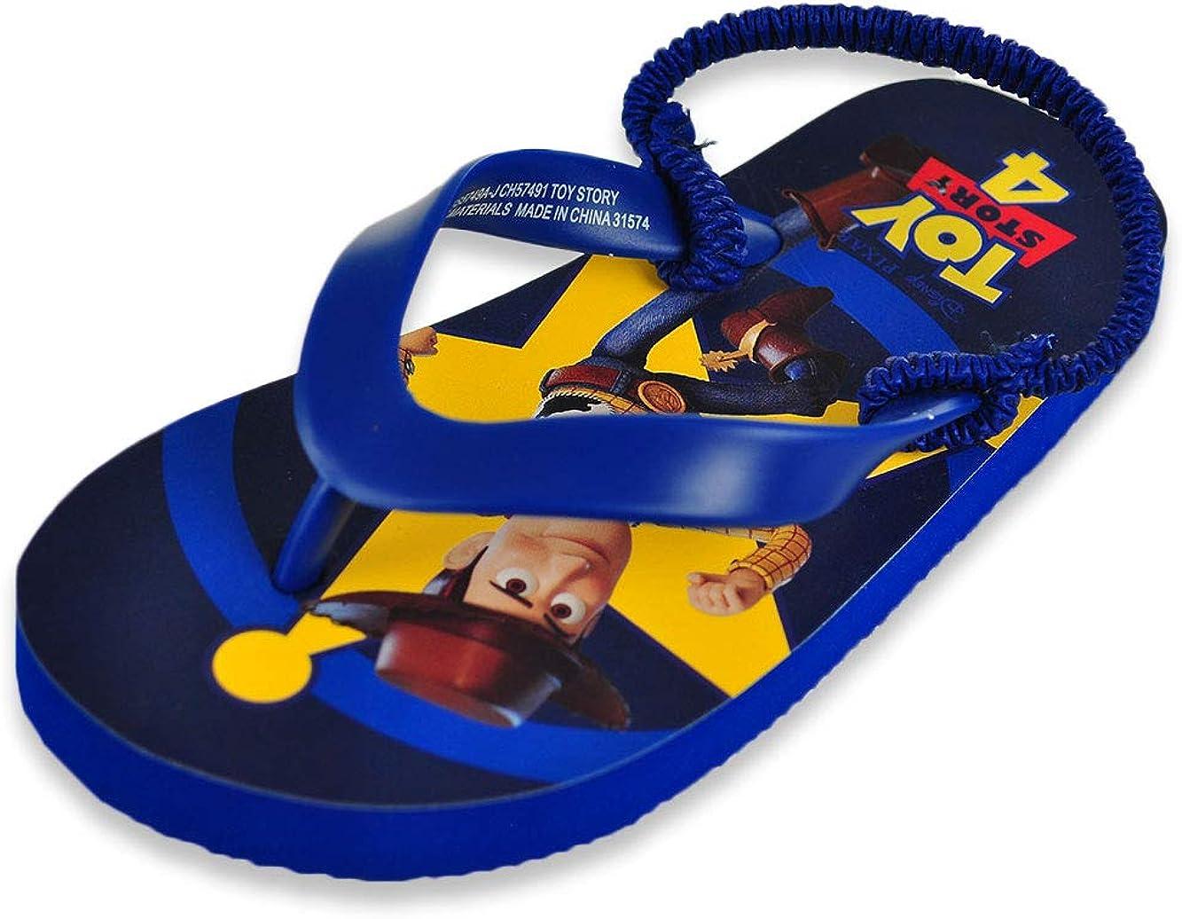 Disney Pixar Boy's Toy Story Sandals - Thong Flip Flops with Elastic Heel