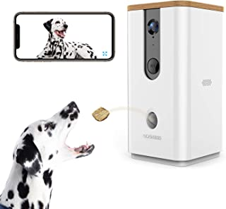 Vbroad Smart Pet Camera Treat Dispenser, 2.4G WiFi Remote Camera Monitor 720P HD Night Vision Video with 2-Way Audio Designed for Dogs and Cats, Home Safety Pet Monitor (Android/iOS)