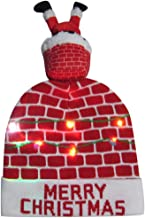 FarJing Ugly LED Christmas Hat,Unisex Novelty Colorful Light-up Stylish Knitted Sweater Xmas Party Beanie Cap