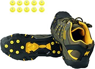 Ice Grips,Crampons Non-Slip Ice and Snow Grips Cleat Over Shoe/Boot Traction Cleat Rubber Spikes Anti Slip 10 Steel Studs Slip-on Stretch Footwear for Hiking and Walking