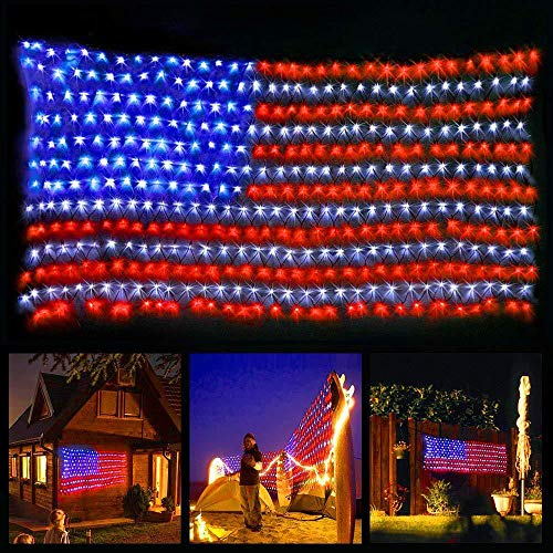 American Flag String Lights,6.5ft×3.3ft Waterproof Outdoor Lighted USA Flag Net Lights Hanging Ornaments for Independence Day , National Day, Christmas Day, Festival Party Decorations (Muticolor)
