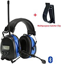 PROTEAR Bluetooth Hearing Protection Headphones with AM/FM Digital Radio and Boom Microphone,NRR 25dB Electronic Noise Reduction Safety Ear Muffs for Working Mowing Construction