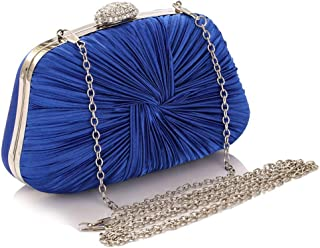 Songlin@yuan New Fashion Europe and America Evening Bag Comfort Fabric Solid Color Pleated Clutch Bag Wedding Dress Shoulder Messenger Bag Size: 15 * 20 * 7 * 12CM (Color : Blue)