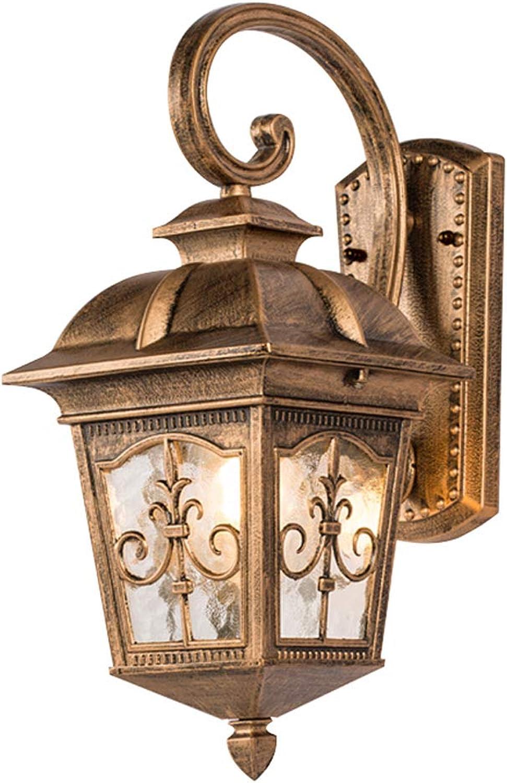 Rishx Aluminiumregendichtwand-Wandleuchte im Freien Retro- LED wasserdichter Glasgarten E27 LED, der Balkon-Gang-Korridor-Treppenhaus-Wand-Laterne beleuchtet (Farbe   Bronze)