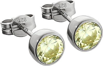 NKlaus Silber Paar Ohrstecker 925 Sterlingsilber rhodiniert 5,50mm limette Zirkonia Damen Herren 6697