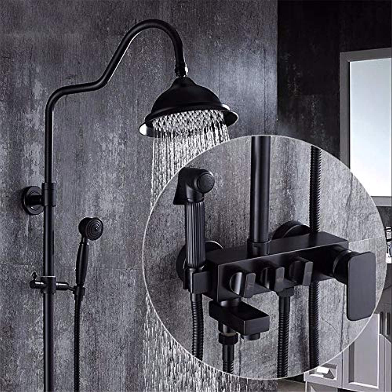 511-0418Set im Europischen Stil, Badezimmer, Schwarz Kupfer eingerichtet Dusche, Booster dusche Dusche, antike kaltes und warmes Wasser Armaturen, C