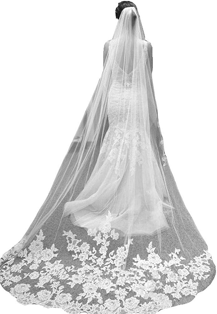Snow Lotus Women's 3 Meters Long Car Bone Flowers Bridal Veil