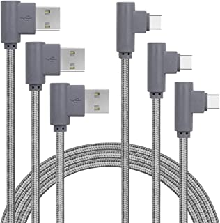 Double 90 Degree Right Angle Game Type C charger Cable Nylon Braided Fasr Charging Cable Compatible Samsung Galaxy S9 S8 Plus Note 9 8,Moto Z Z2,LG V30 V20 G5,Google Pixel XL,USB C Devices (Gray, 3FT)