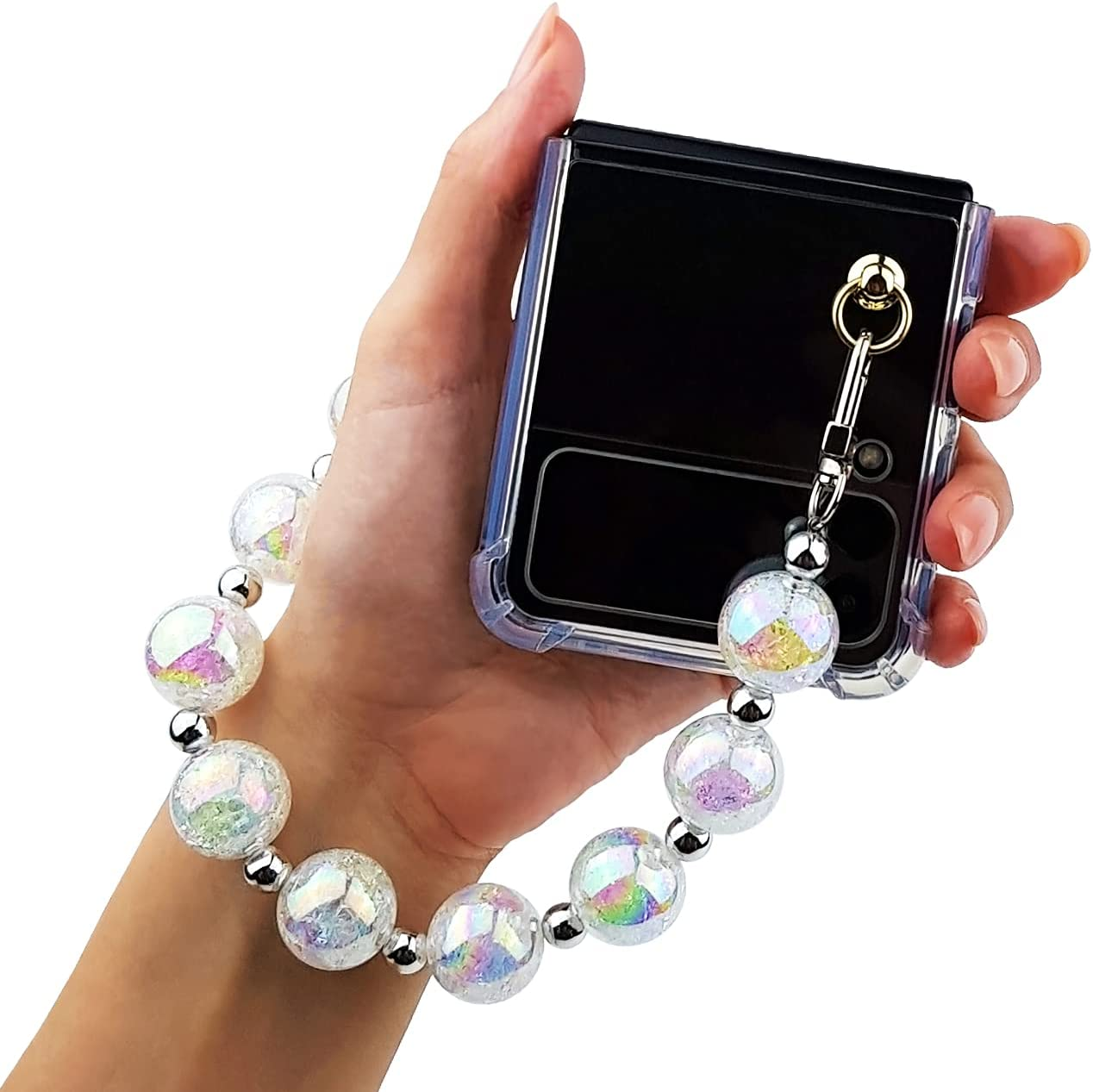 Qoosan Bling Beads Wrist Strap Clear Cover for with Samsung Galaxy Z Flip 3 Case 5G (2021) for Women, Iced White