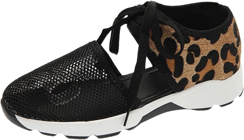 Daily bargain sale Ezeerae Womens Shoes Flats Mesh Sneakers Indianapolis Mall La Print Casual Leopard