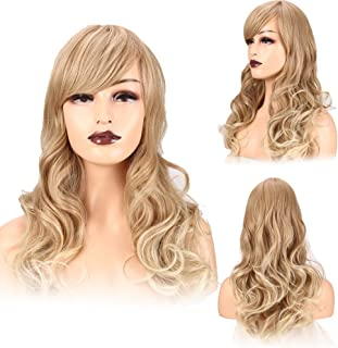 Wigs for Women Medium Length Side Oblique bangs Wigs Part Fluffy Wavy Hair 22 inches This wig uses the popular color gold to beige That Look Real Heat Resistant Blonde Daily Use
