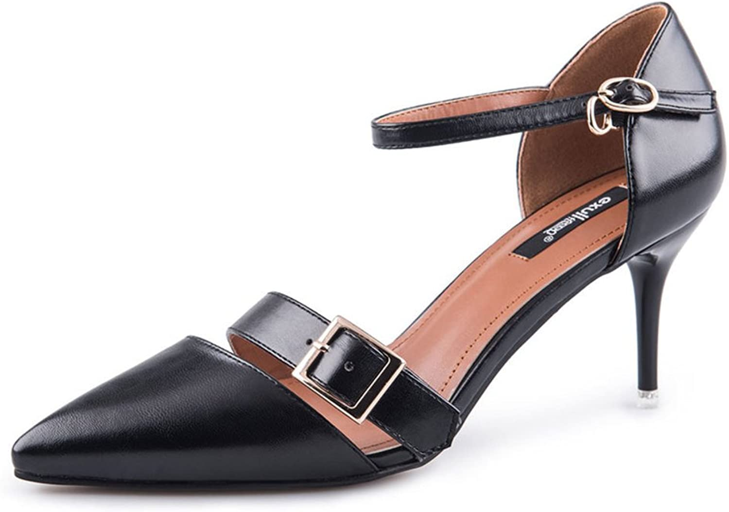 MET RXL Autumn Fashion Heels Metal Buckle shoes Solid color shoes