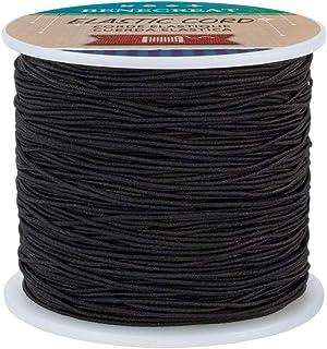 BENECREAT 0.8mm Black Elastic Cord 164 Yard Stretch Thread Beading Cord Fabric Crafting String Rope for DIY Crafts Bracele...
