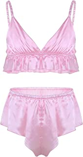 Men's 2 Piece Lingerie Set Satin Frilly Ruffles Bra Tops Sissy Pouch Panties Nightwear