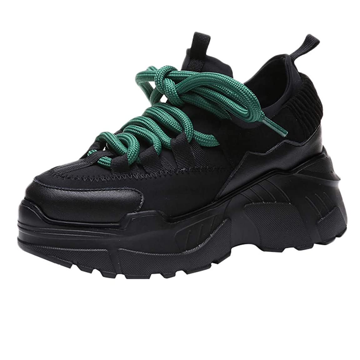 変えるコーチ根拠ランニングシューズ スニーカー レディース メンズ ジョギングシューズ 運動靴 軽量 防水 通学靴 [春の屋] レディースカジュアルプラットフォームスポーツハイシューズラウンドヘッドレースアップフラットスニーカー