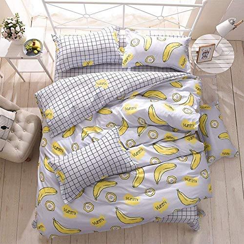 TETHYSUN Juego de funda de edredón extragrande, 4 piezas, diseño de plátano, 220 x 240 cm, microfibra con cremallera, juego de funda de edredón