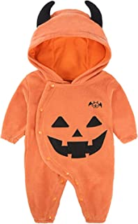 Toddler Baby Boys Girls Halloween Costume Pumpkin Hooded Romper Fancy Outfits