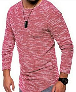 Howme-Men Long-Sleeve Casual T-Shirt Top Tees Pullover Crew Neck