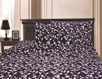 Elegant Comfort 1500 Thread Count Egyptian Quality Super Soft Wrinkle Resistant & Fade Resistant Beautiful Leaf Design 4-Piece Sheet Set, Deep Pocket Up to 16