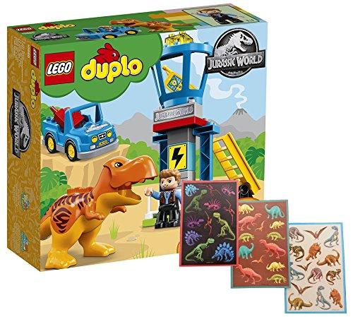 Duplo LEGO 10880 - Jurassic World T-Rex Aussichtsplattform, Dinosaurierspielzeug + Dinosaurier Stickerbogen