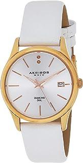 Petite Women's Diamond Accented Watch - Date Window on Genuine Leather Strap - AK879