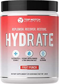 Top Notch Nutrition Electrolyte Replacement Powder Supplement with Coconut Water Powder BCAA's L Glutamine Vitamin C and Essential Electrolytes Replenish Recover Restore Your Body (Fruit Punch)