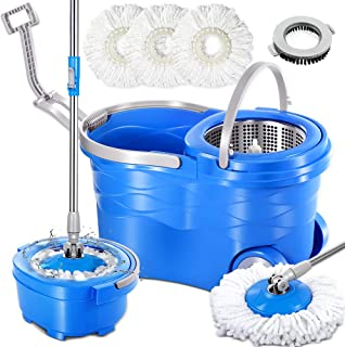 Spin Mop with Stainless Steel Bucket System & 3PCS Microfiber Mop Heads &1 Brush Head Masthome 360 Deluxe Magic Spinning M...