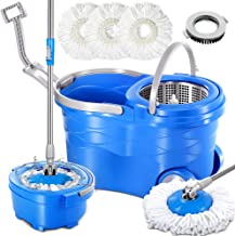 360 Spin Mop and Bucket System with 3 Reusable Microfiber Mop Heads and 1 Cleaning Brush Spining Mop Bucket Set with Wringer on Wheels and Collapsible Handle