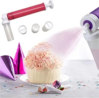 Manual Airbrush for DIY Decorating Cakes, Cupcakes and Desserts, with 4 Pcs Vial Spray Tube