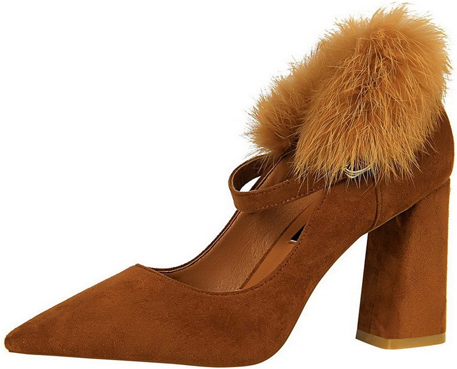 WeenFashion Women's Pointed-Toe Pull-On High-Heels Imitated Suede Pumps-shoes