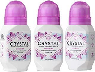 CRYSTAL Unscented Natural Deodorant, Aluminum Free Deodorant With 24-Hour Odor Protection And Paraben Free, 2.25 FL OZ (3 Pack)