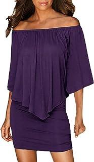 iLH Women Off Shoulder Ruffle Dress Sleeveless Bodycon Evening Party Maxi Skirt
