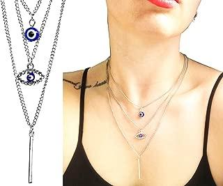 "17"" Inch Clear Rhodium Blue Evil Eye Crystal Rhinestone Layered Chain Choker Charm Pendant Necklace Chain Jewelry for Girls Women"