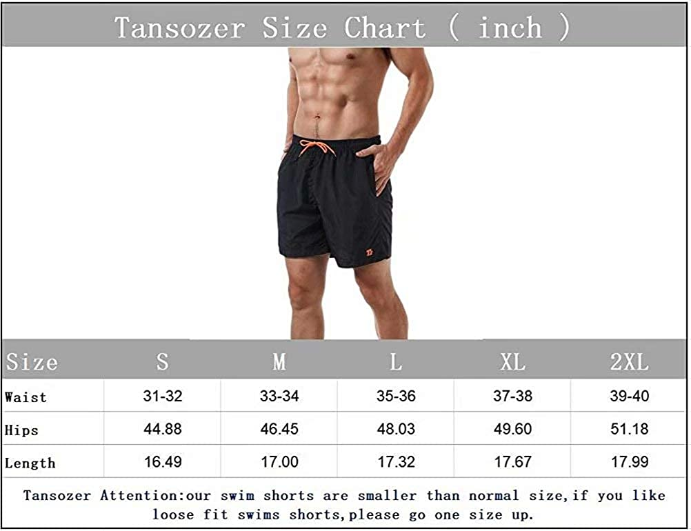 Tansozer Mens Swim Trunks Quick Dry Beach Shorts Board Shorts with Mesh Lining