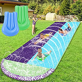 WDERNI Slip and Slide 15.7 FT Water Slide for Kids Adults Slip n Slide with 2 Surfboards Outdoor Waterslide with Crash Pad and Splash Sprinkler Summer Water Toys for Backyard Outside