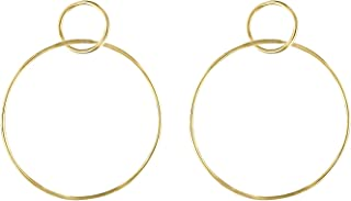 Circle Hoop Earrings - Large Dangle Hoop Earrings for Women - 14k Gold Double Hoop Earrings - Classic Post Hoop Earrings