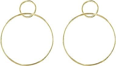 Jules Smith Circle Hoop Earrings - Large Dangle Hoop Earrings for Women - 14k Gold Double Hoop Earrings - Classic Post Hoop Earrings